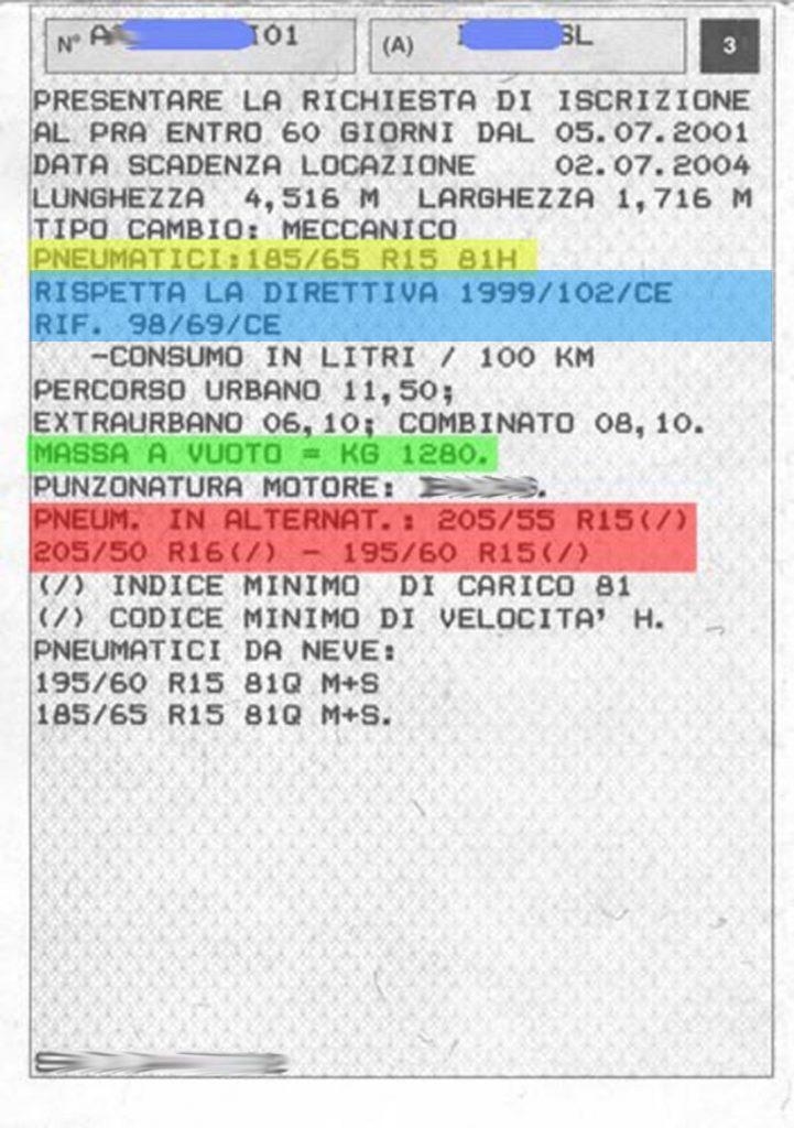 libretto circolazione automobile quadrante 3 dimensioni pneumatici